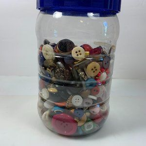 Jar of Buttons Mixed Lot 1 Pound Sewing Notions
